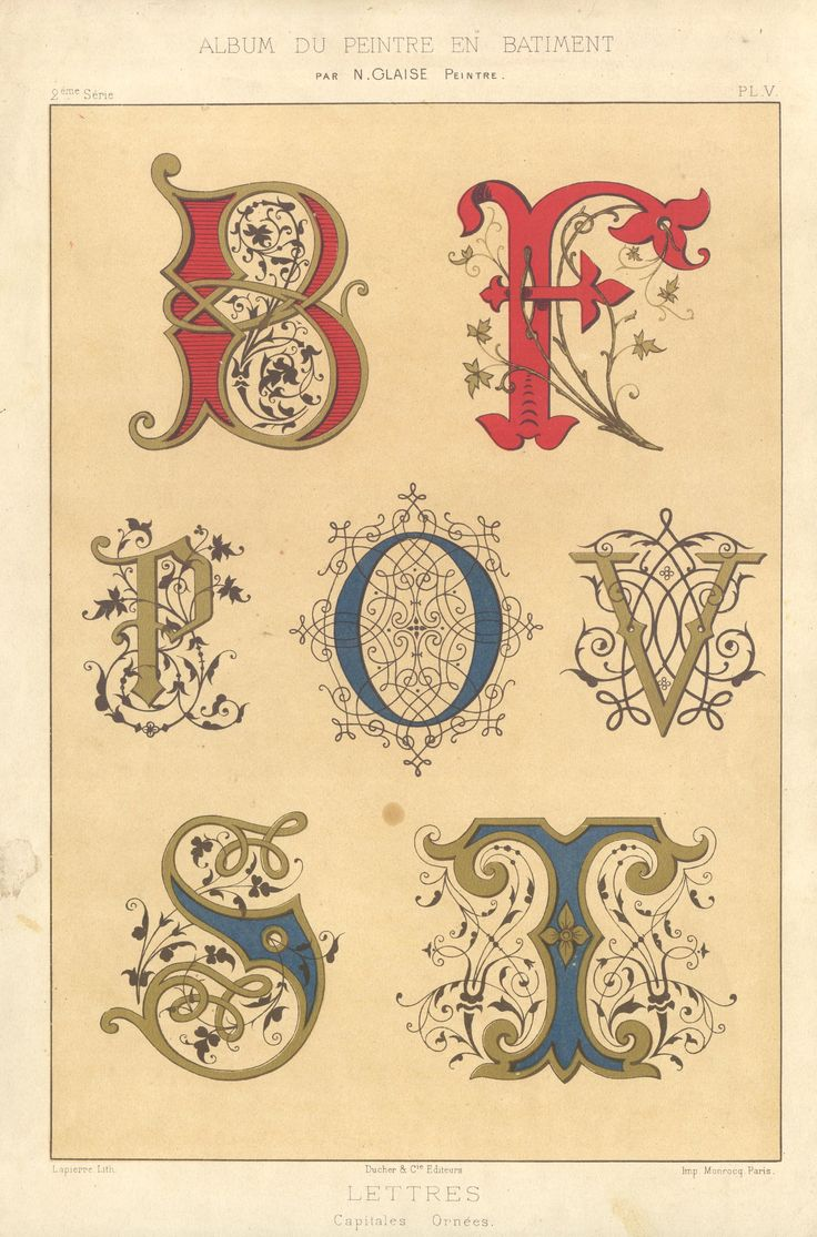 """Decorative letters by N. Glaise. """"Capitales Lettres,"""" 1882"""