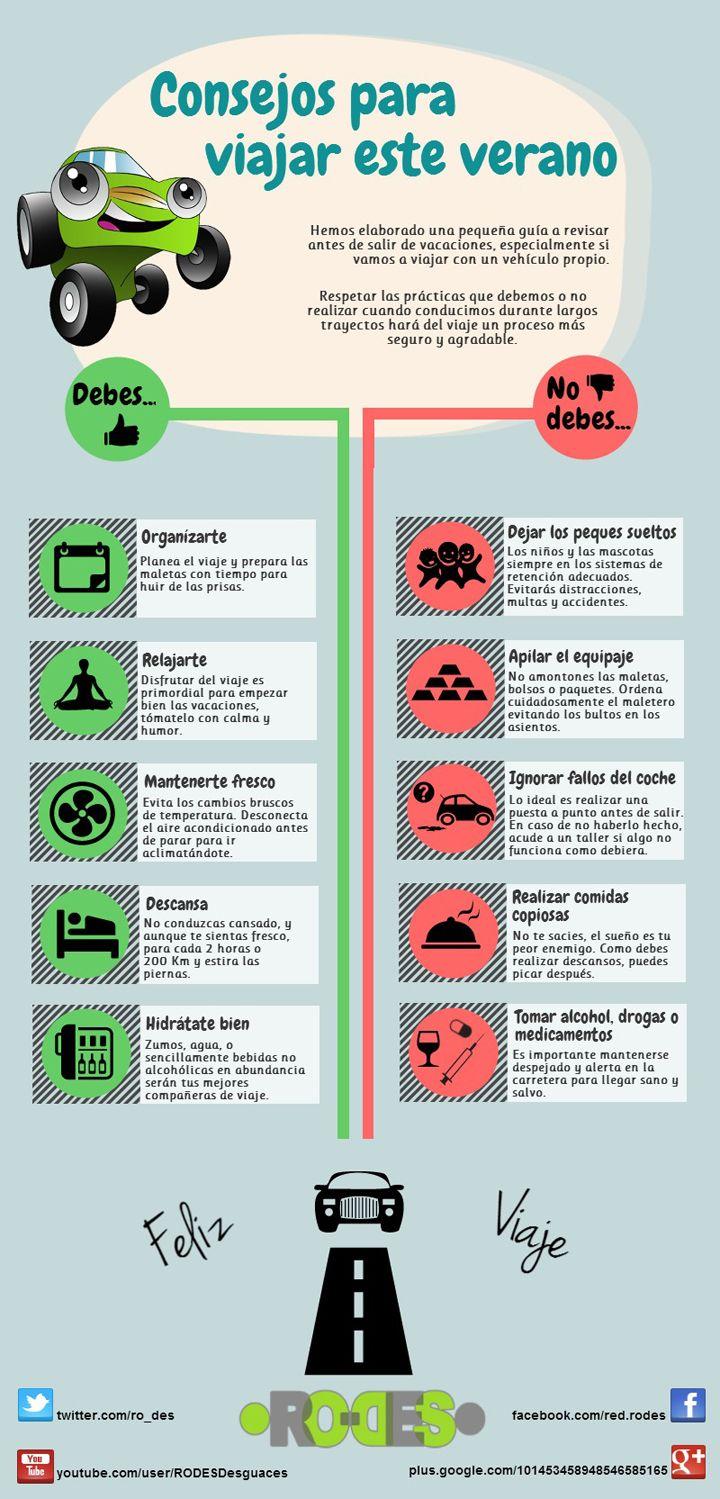 #Infografia con #consejos para #viajar en #coche durante el #verano