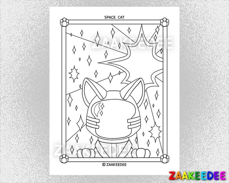 Space Cat: Coloring Page - PDF Instant Digital Printable ...