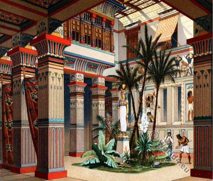 Egyptian house. Auguste Racinet. Egypt Ancient architecture. Casa egipciahttp://world4.eu/ancient-egyptian-costumes/