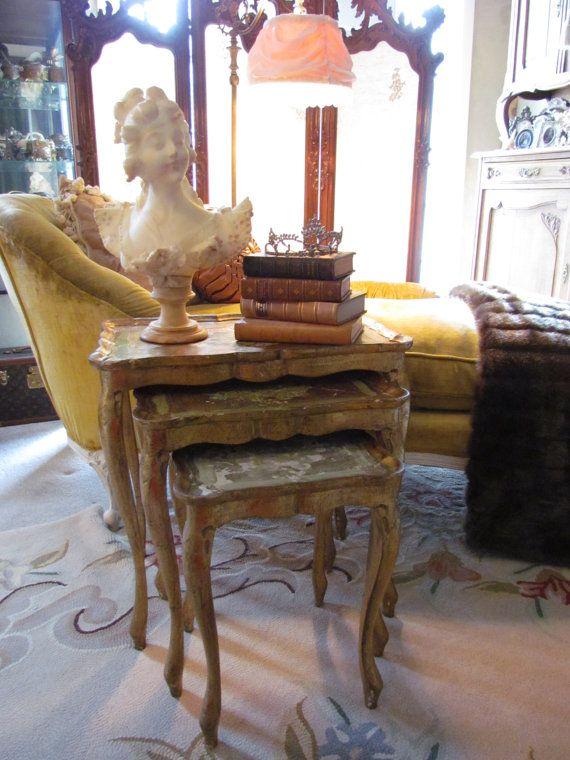 Vintage Italian Florentine Nesting Tables Set Shabby Chippy