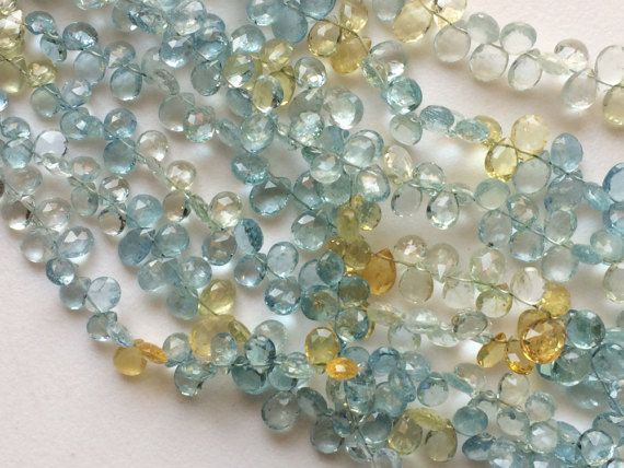 Aquamarine Beads Natural Aquamarine Faceted Pear by gemsforjewels