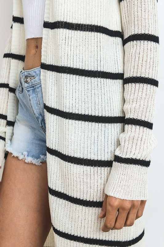 ribbed and striped cardigan