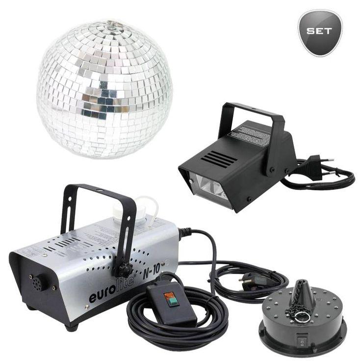 LED Spiegelkugelset besteht aus Spiegelkugel 20cm, Motor für Spiegelkugel LED FC, Disco Blitzer & Nebelmaschine .