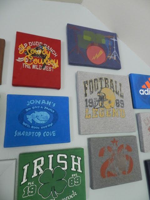 Old t-shirts wrapped around canvases- would be cool basement decor with high school and college alma mater tshirts!