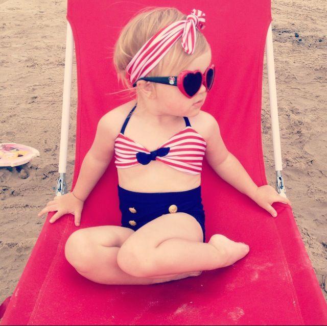 Beach Baby. Lilah in the nautical high waisted bikini by Sophieandisla #love…                                                                                                                                                                                 More