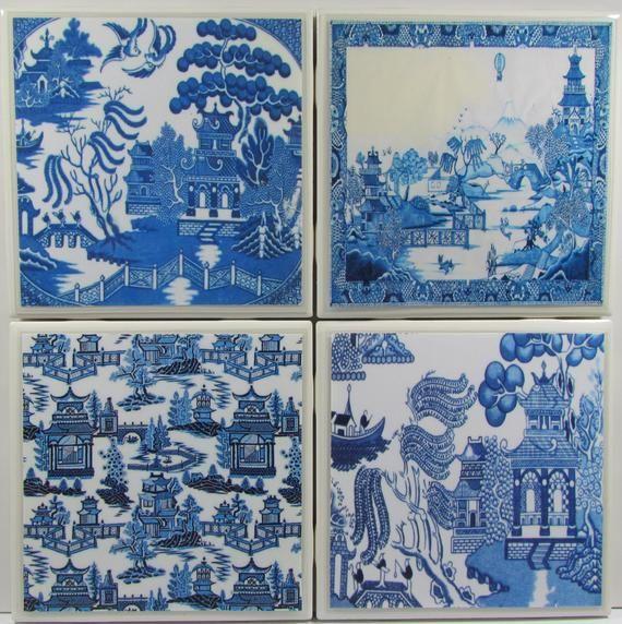 Monogram Coaster Stone Coaster Vintage Personalized Ceramic Tile Coaster Drink  Bar Coaster Ceramic Coaster Set of 4