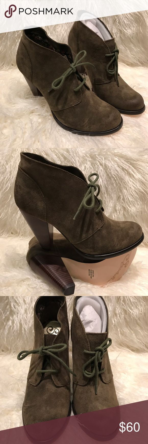 """**New** Never worn Seychelles Suede Booties **New**Never worn """"Bismuth"""" Seychelles Bootie Olive Green.                                                         💥Please use the """"OFFER"""" button. I will not discuss the price in the comment thread. 💥 Thank You 😊 Shoes Heels"""