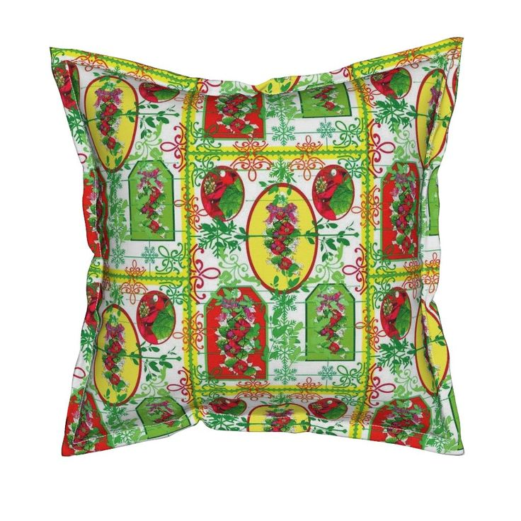 Serama Throw Pillow featuring Poinsietta and the colours  of Christmas  by vondy | Roostery Home Decor