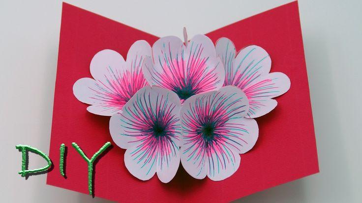 Basteln mit Papier / Pop Up Blumen Karte basteln: Diese Karte ist die ideale Bastelidee zum Muttertag sowie auch zu Geburtstagen. Sie ist auch sehr einfach zu basteln so das man die Bastelidee auch sehr gut mit Kindern zum Geschenke basteln hernehmen kann. Diy, Art, Papier, Basteln,