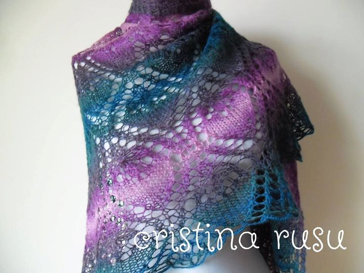 Lace shawl - green and purple lace shawl  , Rectangular shawl,Handknitted  lace shawl ,Gift for her by CrisColourCrochet on Etsy