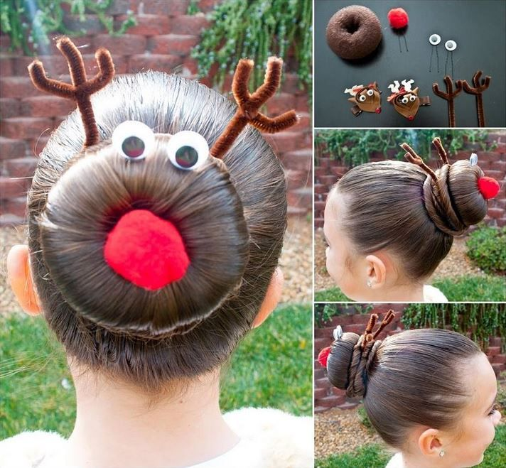 Pretty Christmas  rudolph bun hairstyle --> http://wonderfuldiy.com/11-wonderful-and-cute-christmas-hairstyles/