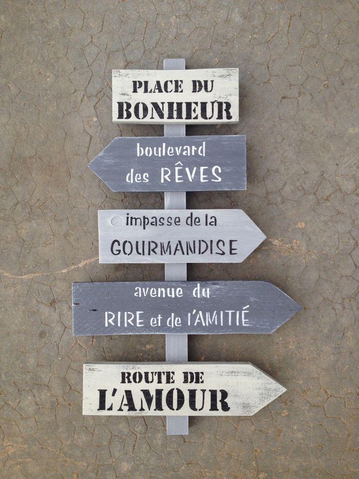 panneau de direction en bois de palette vintage design : Décorations murales par…