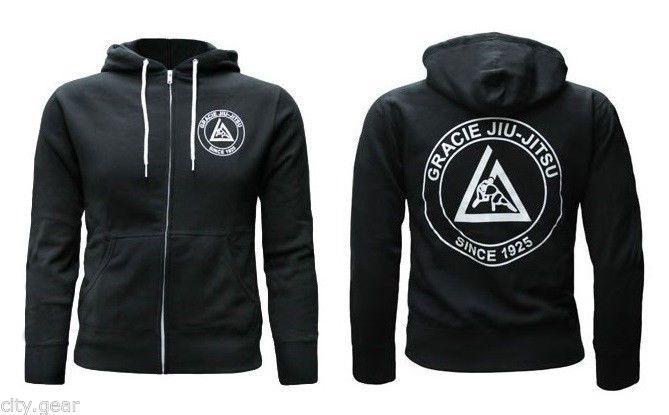 Gracie Academy Zip Hoodie Sweatshirt - Black - bjj jiu jitsu mma