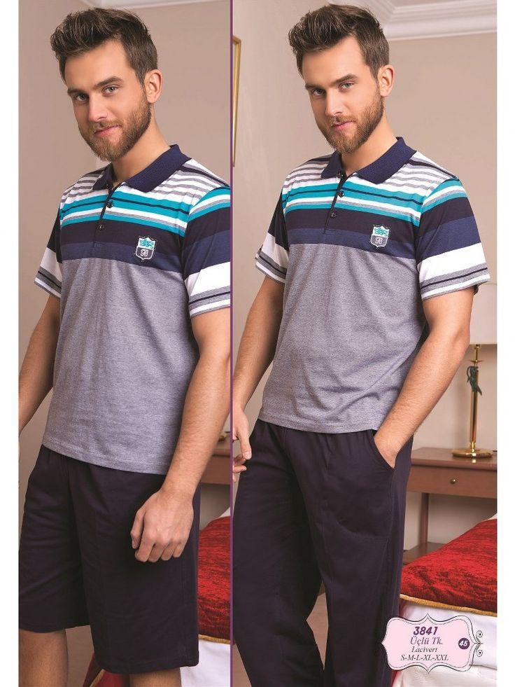 Bone 3841Erkek 3 lü Pijama Takım; Penye kumaştan üretilen erkek 3 lü pijama takım modelidir.