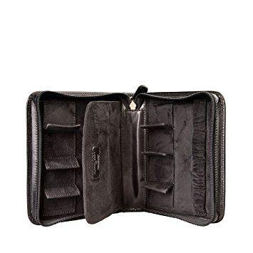 Maxwell Scott® PERSONALISED Black Italian Leather Watch Case for Men (Atella)