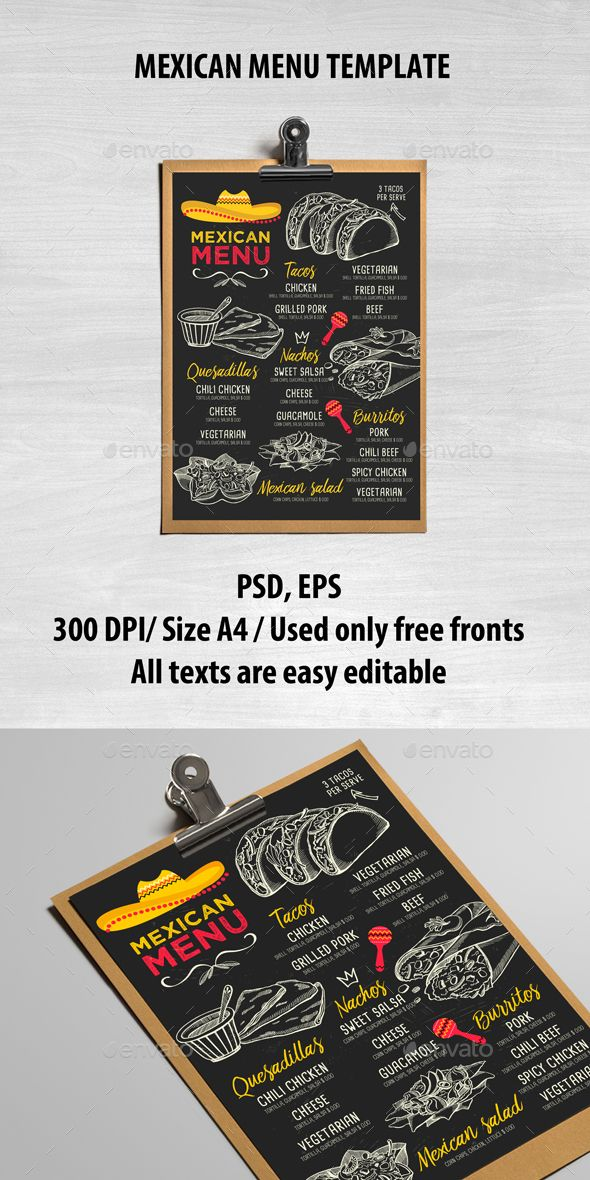 Mexican Menu Template PSD, Vector EPS. Download here: https://graphicriver.net/item/mexican-menu-template/16997391?ref=ksioks