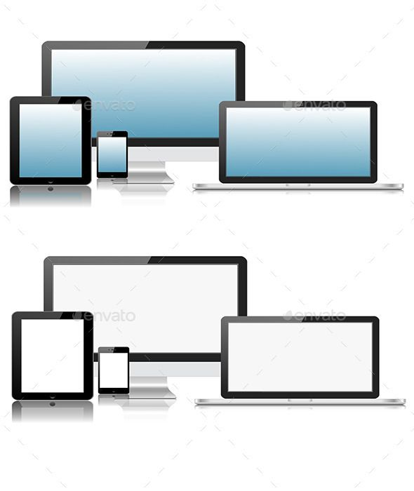 Flat Computer Laptop Tablet Phone Devices
