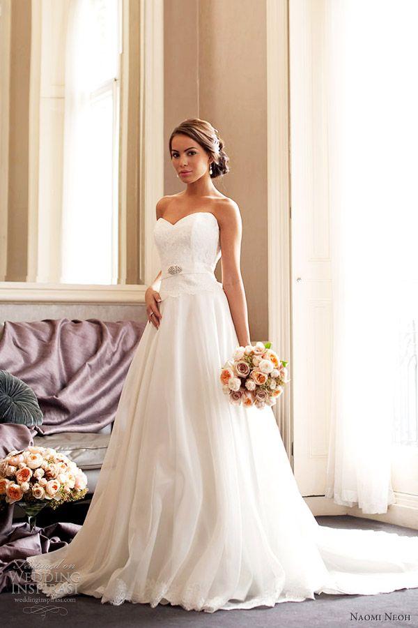 naomi neoh celeste sweetheart french lace strapless wedding dress