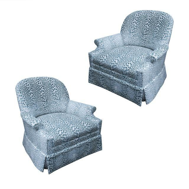 Image of Kravet Upholstered Lounge Swivel Chairs - A Pair