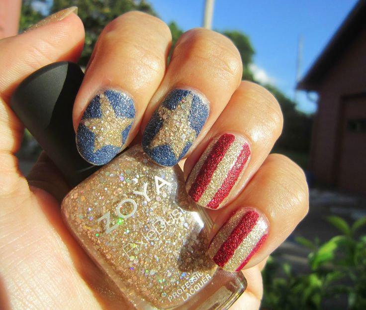 Concrete and Nail Polish: World Cup USA Nails with Zoya Pixie Dusts!
