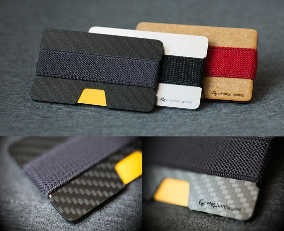 N wallet is made of carbon fiber and rubber. Rubber link two plates between which you can put credit cards, bills, business cards. In addition, cards and bills can be put between the rubber and the plate. This useful wallet has three pockets.