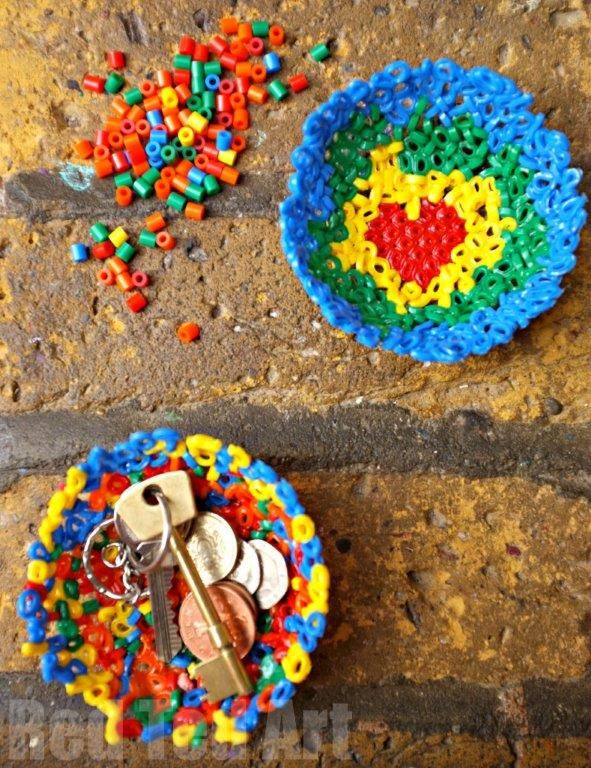 """Finally we had a go at Wooz.dk's Hama Bead Bowls. And added a little """"pattern"""" to them too. The kids LOVED the hearts. And we will making a number of these as gifts to give (Father's Day!!!)"""