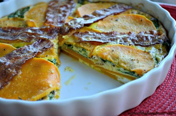 bacon & butternut squash quiche - could use sweet potatoes instead of BNS