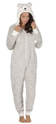 "Onesie, Jumpsuit ""Teddy Beer"" grijs/wit hooded"