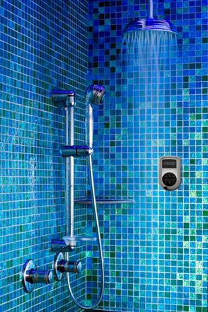A great steam shower with a rain shower head.