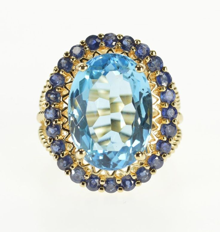 10K Oval Blue Topaz Sapphire* Halo Cocktail Ring Size 7 Yellow Gold *92 #EstateRing