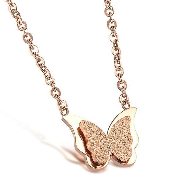 Розового золота ожерелья для женщин из нержавеющей стали ожерелье ювелирные изделия женщины ожерелье бабочки оптовая продажа GX888