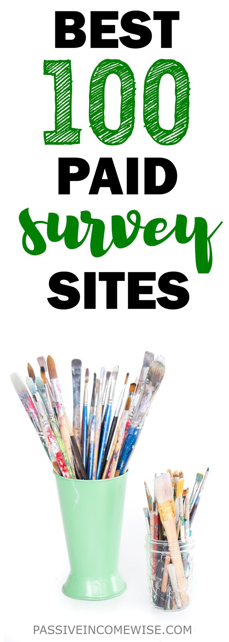 This list has the 100 best survey sites to make money as a side hustle. Best surveys sites, paid survey sites, online survey sites, make money online, surveys for money