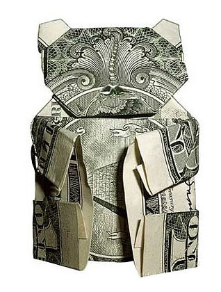 Origami made out of money