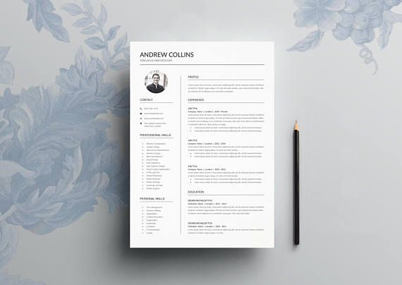 """Modern Resume Template & Cover Letter + Icon Set for Microsoft Word + Adobe InDesign 