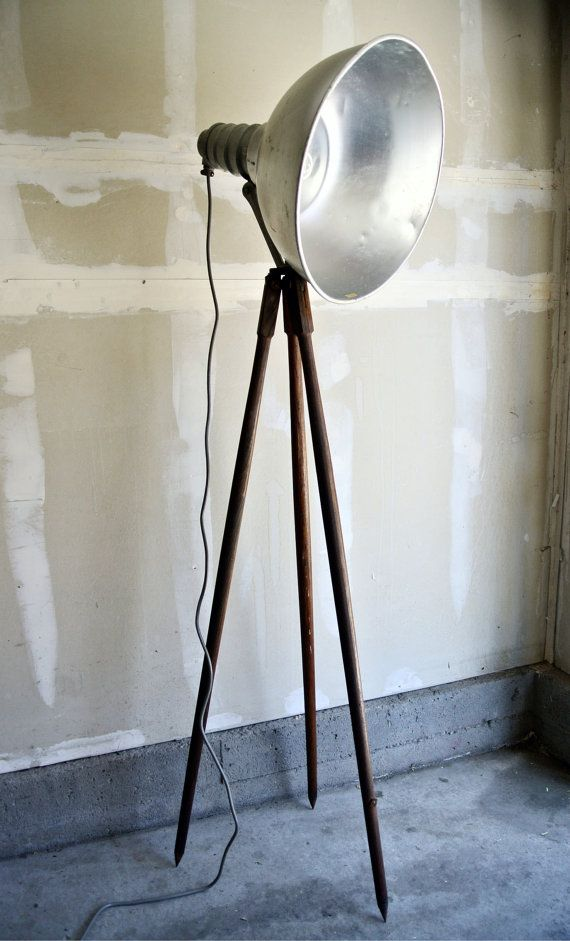 Reclaimed Wooden Tripod Floor Lamp - Large Industrial Studio Light I could do this