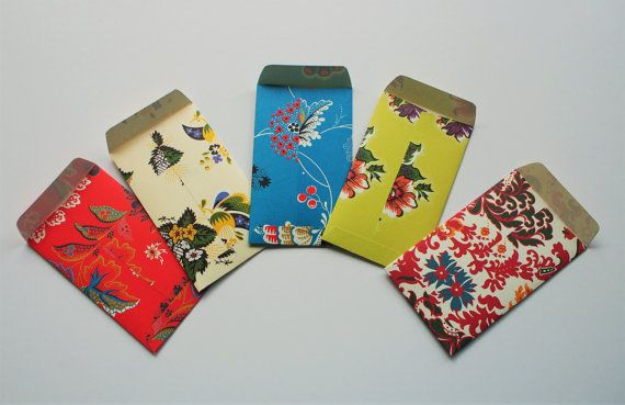 Lovely florals Eid money envelopes--set of 5 in tall design, colourful, bright, for her, for kids, Hari Raya, wedding, voucher holders