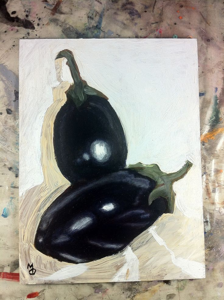 Eggplants #oilpainting #stilllife #markoconnellstudio