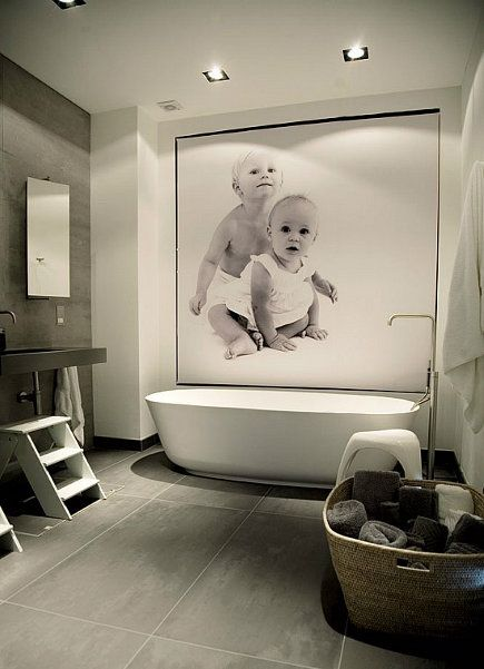 contemporary bathroom with large scale photo mural