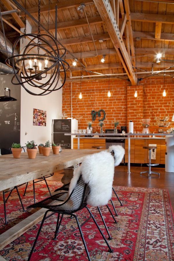 I absolutely love exposed brick, wood beams & high ceilings. It is beautiful, rustic & sexy. It's where industrial chic meets farmhouse comfort.