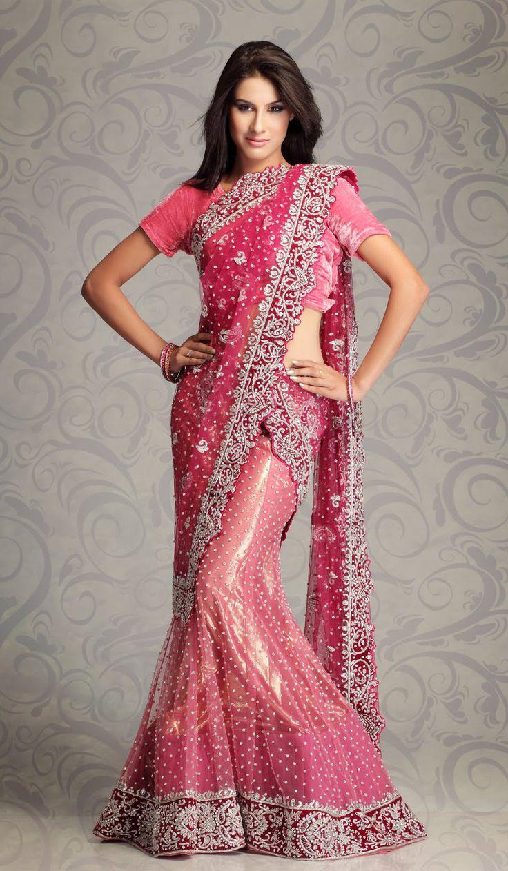 Pink Saree: Pink Net Designer Indian Party