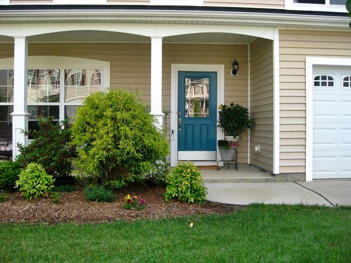 Teal Front Door / Tan House Benjamin Moore Peacock Blue or Calypso Blue