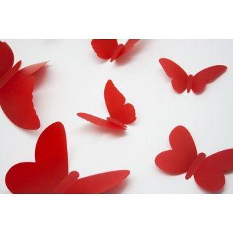 3D Piros pillangók csomag : 3D matricák - KaticaMatrica.hu - A minőségi falmatrica és faltetoválás webáruház