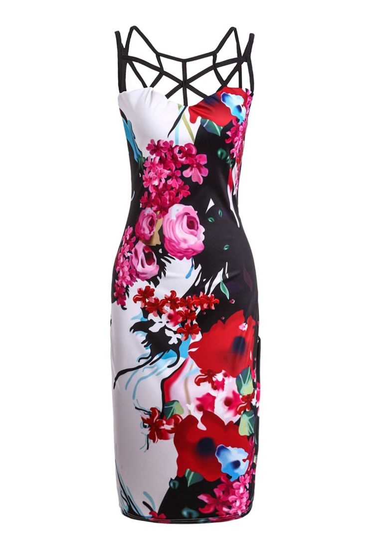 Trendy Sleeveless Floral Print Hollow Out Skinny Dress For Women