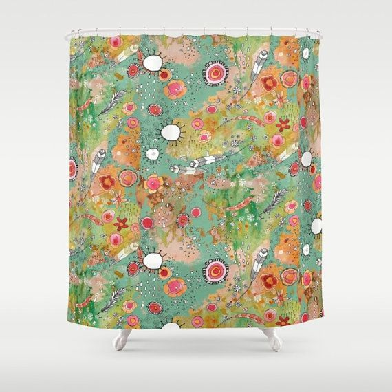 Feathers shower curtain flowers curtain colorful boho shower curtain bathroom accessories green shower curtain art colorful shower curtains