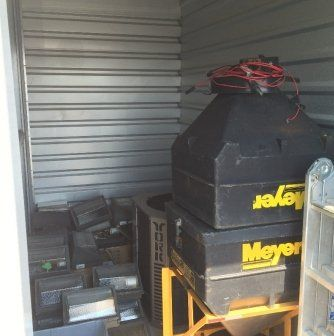 Unit Size: 5x10. Appears to be a contractors unit. Contains multiple outdoor lights, York air conditioner and a complete Meyer commercial salt spreader with extra bin. #StorageAuction in Oakville (IB-7102). Ends May 28th 2:00PM PST. (Los_Angeles). Lien Sale.