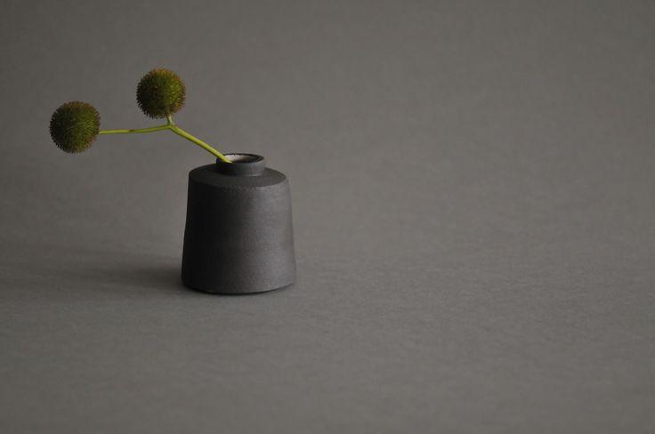Black clay bud vase