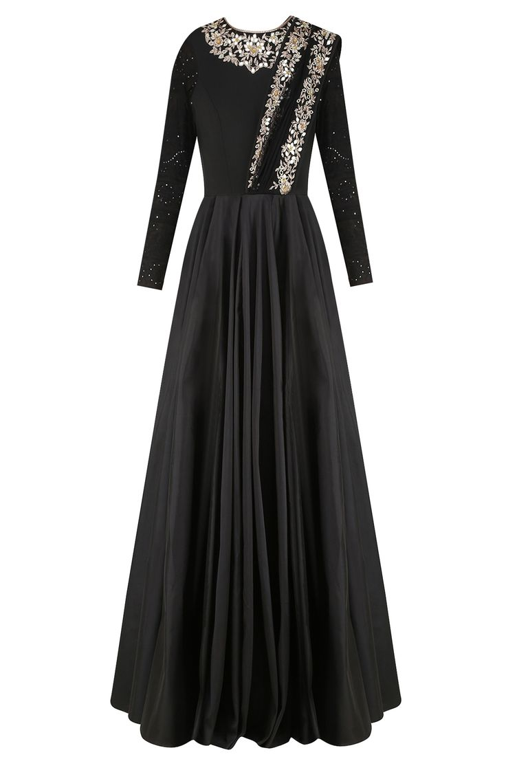 Black dress gown - Black Floral Embroidered Anarkali Gown With Attached Dupatta Available Only At