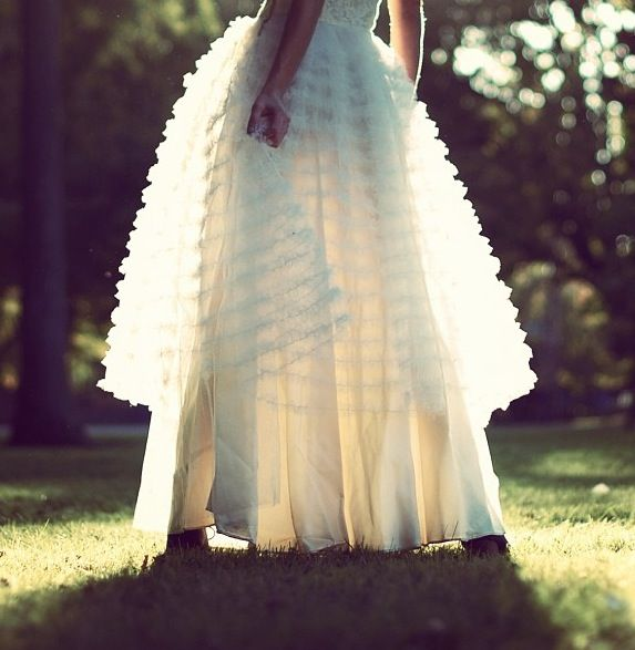 ruffled wedding dress overskirt
