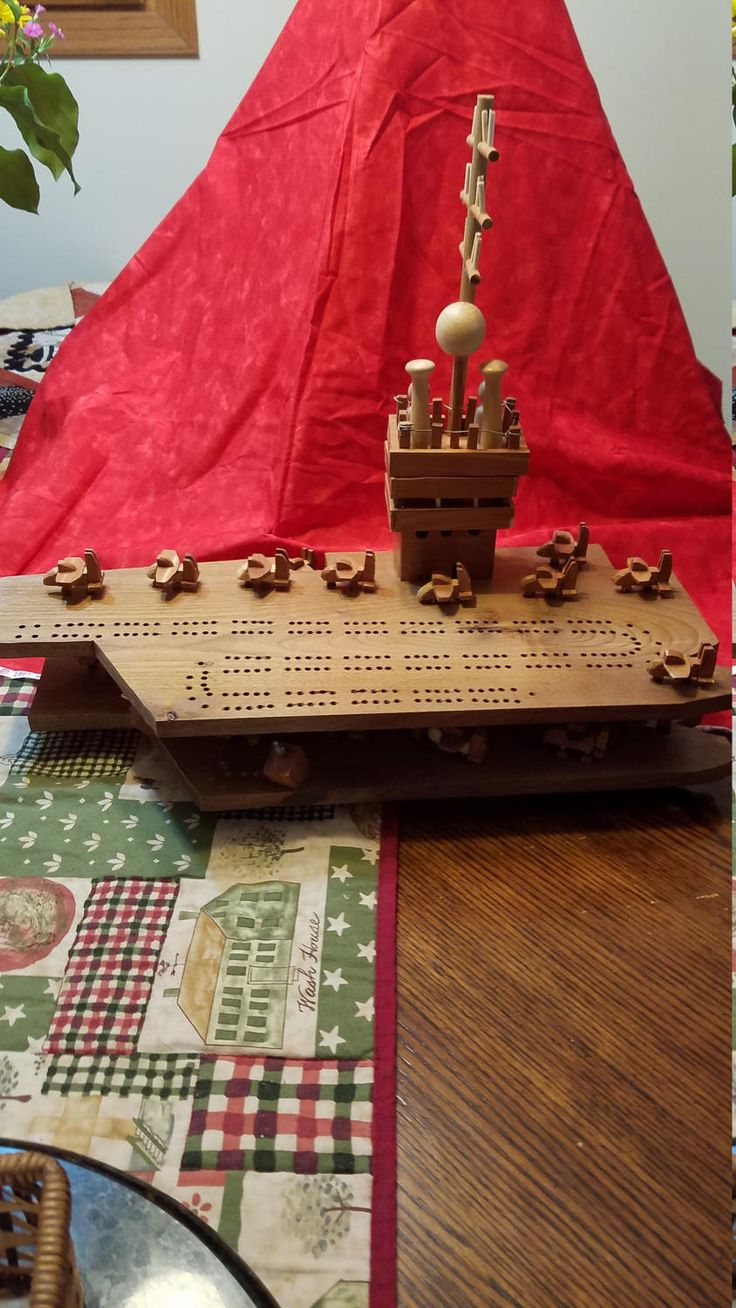 Unique Wood Naval Aircraft Carrier Cribbage Board by JasBre on Etsy